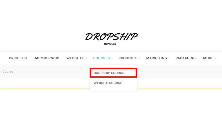 Dropship Course Menu