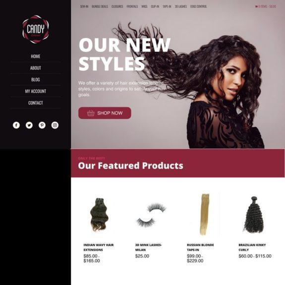 Hair brand homepage