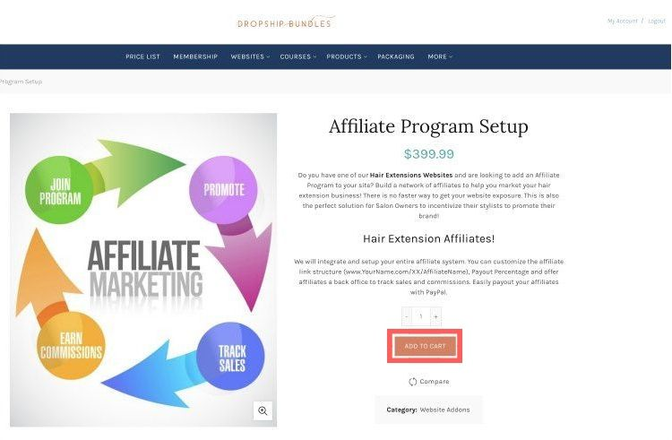 affiliate marketing program add to cart